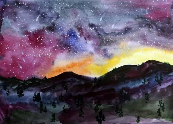 Звездное небо рисунок акварелью, днем татьяны